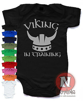 Viking in training  Cute Babygrow Baby Suit Great Gift vest Ragnor Lothbrok