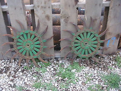 (2) JD Rotary Hoe Wheel Sunflower Yard Garden Wall Art Decor SteamPunk 19""