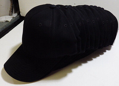 Wholesale LOT 12 BLACK Cotton Twill Baseball Hats Caps New Blank No Graphics