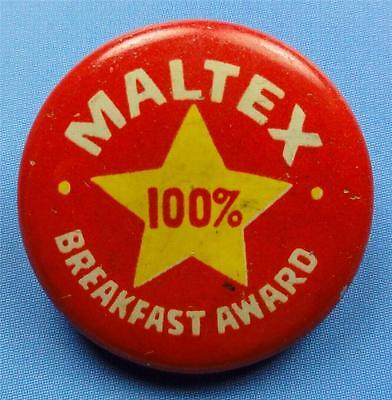 Cello Pinback Button MALTEX BREAKFAST AWARD (made MAYPO cereal) 22mm Pin ME4117