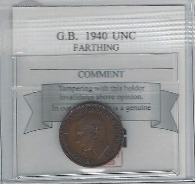 **1940**Great Britain, Farthing, Coin Mart Graded**Unc**