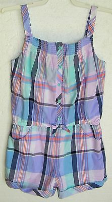 7 Girls Gymboree Tropical Breeze Blue/coral Periwinkle Romper Outfit New/nwt