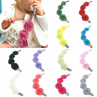 Baby Girls Infant Rose Flower Pacifier Dummy Clip Teething Soother Holder Chain