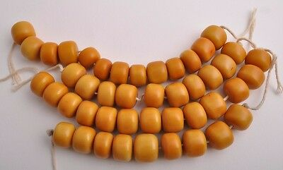 4 Antique African Trade Beads-Simulated Amber Strands