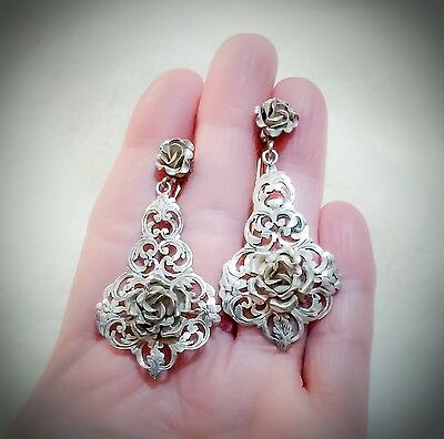 Awesome Art Nouveau 800 Silver English Floral Large Long Dangle Earrings