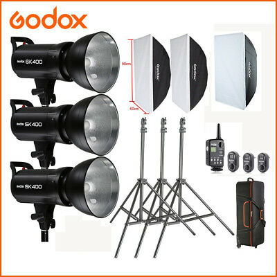 Godox 3x 400W SK400 1200w Studio Strobe Flash Light Monolight Softbox Stand Kit