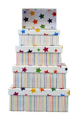 Set Of 5 Nested Oblong Gift Boxes - Multicoloured Stars & Thin Pencil Stripes