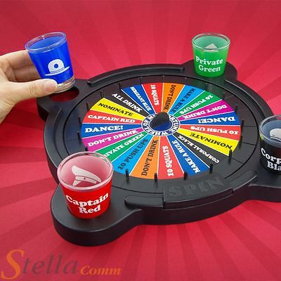 Wheel Of Mis-Fortune Misfortune Shot Glass Spinner Adult Party Drinking Game