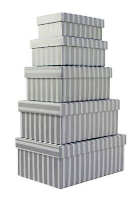Set Of 5 Nested Oblong Gift Boxes - Modern Thick Vertical Silver & White Stripes