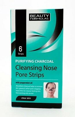 BEAUTY FORMULAS PURIFYING CHARCOAL CLEANSING x6 NOSE PORE STRIP PEPPERMINT OIL
