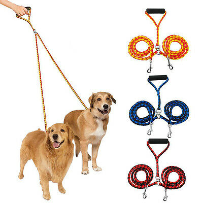 Dual Double Dog Leash No Tangle With Soft Handle For Two Small/Medium/Large Dogs