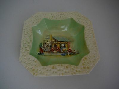 "L & Sons ""The Posy Shop"" basket weave bowl dish green Sandland Ware Hanley"