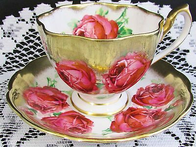 Queen Anne Red Roses Heavy Gold Gilt Tea Cup And Saucer Teacup