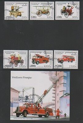 Cambodia - 1997, Fire Engines set & sheet - CTO - SG 1630/5, MS1636