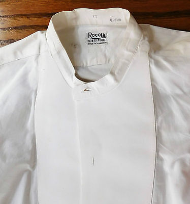 Vintage white starched dress shirt size 15 Rocola mens evening tunic 1930s 1950s