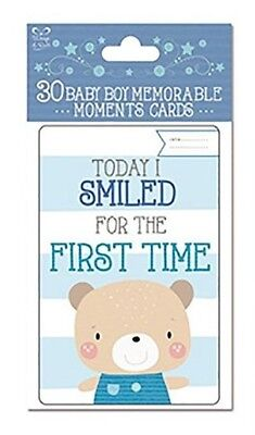 Pack Of 30 Blue Baby Boy Memorable Moments Milestone Keepsake Cards