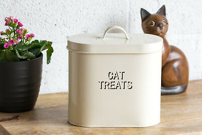 Oval Cat Treats Storage Tin Cream Enamel Retro Food Biscuit Barrel Container