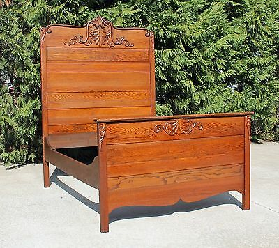 American Victorian Solid Oak High-back Full Size Bed~ Fancy Crest~ Circa 1900