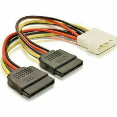 0.13m 4 Pin IDE Molex to Dual SATA Y Splitter Female HDD Power Adapter Cable