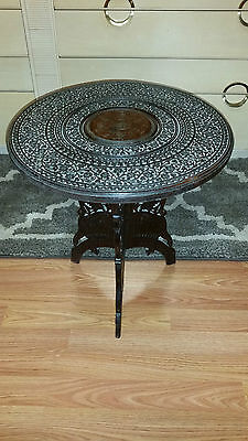 19th C Intricately Carved Anglo Indian Folding Table Brass Inlay Hand Carved