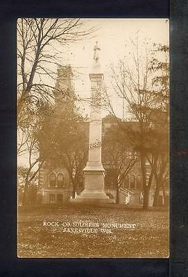 1910 Janesville WI ROCK COUNTY SOLDIERS MONUMENT Real Photo Postcard RPPC