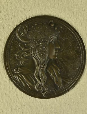 Original Hand Crafted Large Bas Relief Plaque Woman Face Bronze Sculpture Statue