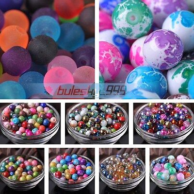 4mm 6mm 8mm 10mm 12mm Random Mixed Color Round Loose Spacer Glass Beads