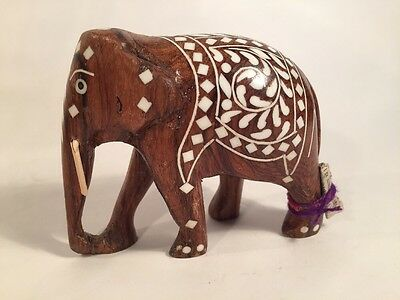 Hand Carved Wood Elephant 3in Inlayed(?)
