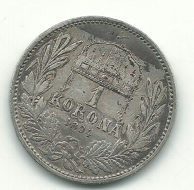 Very Nice Higher Grade 1894 Hungary Silver 1 Korona Coin-Mar680