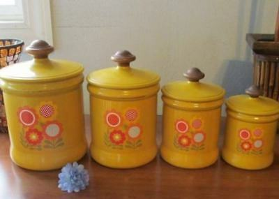 GROOVY! Golden 4pc WESTBEND CANISTER SET Retro BIG Flowers WOOD KNOBS
