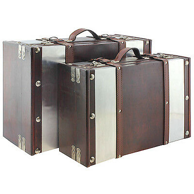 Set of 2 Brown Vintage Retro Inspired Wooden Suitcases Hard Shell Travel Luggage