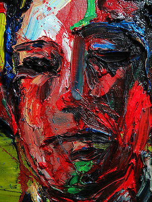 Original Oil Painting Canvas Large Signed Art Big Outsider Portrait Abstract Pop
