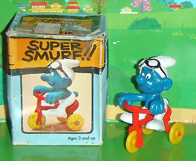 Vintage Rare Super Smurf Tricycle Smurf Complete With Box Smurf Lot