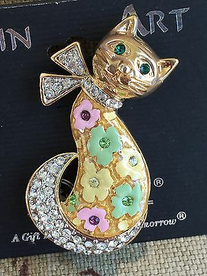 Vintage Spoontiques Pin Art Rhinestone Cat Pin