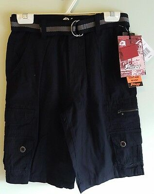 NWT $40 Plugg Boys Trekker 8 12 14 16 18 Belted Cargo Shorts BLACK Long  #224317