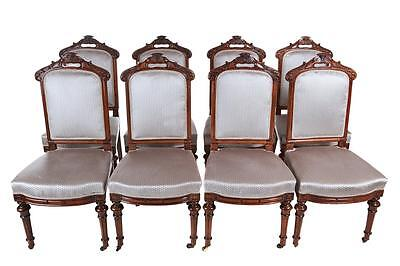 Set Of 8 19Th Century Victorian Walnut Dining Chairs