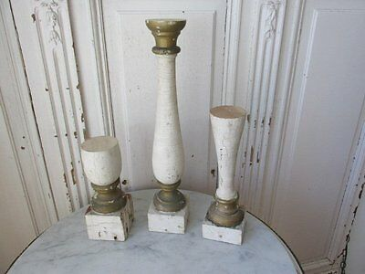 3 FABULOUS OLD ARCHITECTURAL Repurposed CHURCH POSTS CANDLE HOLDERS Chippy PAINT