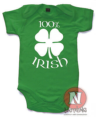 100% Irish Cute Babygrow Baby Suit Great Gift vest Ireland Celtic infant romper