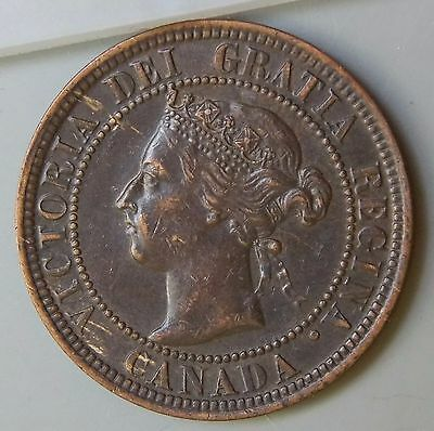 1900 H - Canada Large 1 Cent Canadian Victoria Coin - Better Grade