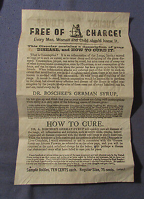 Antique Quack Medical Dr Boschee's Syrup Advertising Circular 1890S Auburn Ny