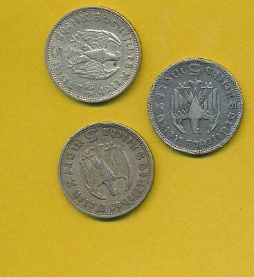 Germany - Eagle 5 Marks - Hindenburg Wwii Silver Coins  - 1936