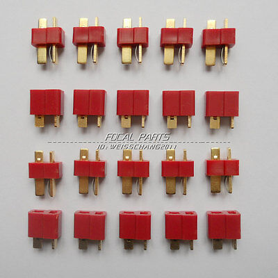10 Pairs T Plug Male & Female Connectors Deans Style For RC LiPo Battery M411