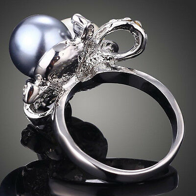 Man Women Spinning Pearls Double Rhinestone Ring Vintage Jewelry Rings