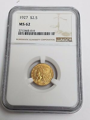1927 $2.50 Gold Indian Head Quarter Eagle Coin NGC MS 62 - 2712465-019