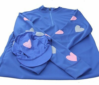 Equetech Cross Country Colours ladies  Royal with pink & grey hearts small Equet