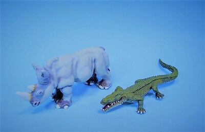 Clearance Miniatures  painted miniature African Rhino and Croc