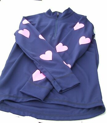 Equetech Cross Country Colours childrens Navy blue with pink hearts medium Equet