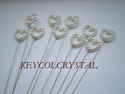 10 X 10mm PEARL OPEN HEART WIRE STEMS FOR BOUQUET,TABLE OR FAVOUR BOX DECOR