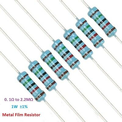 50PC Metal Film Resistor 1W Power ±1% Tolerance 0.1 Ohm to 2.2M Ohm