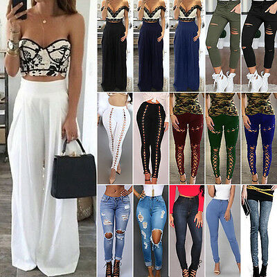 Women Denim Skinny Ripped Pants High Waist Jeans Slim Pencil Trousers Leggings